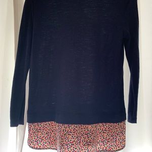 J. Crew Factory Tops - J. Crew Navy shirt with floral patterned extension